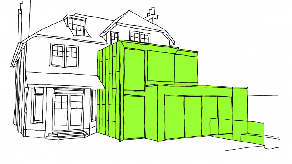 a graphic highlight where someone has chosen to have their kitchen extension